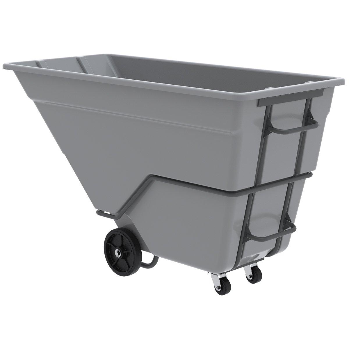 Akro-Mils 77710 300 Gallon, 1.5 Cubic Yard, 2000 lb. Capacity Heavy Duty Plastic Tilt Truck, Grey, 39-Inch W BY 84-Inch L by 51-Inch H