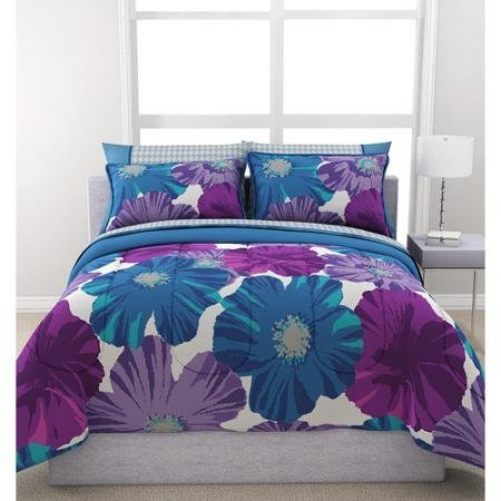 Twin Size Teen Girl Bedding Sheet Set Bed in a Bag Reversible Purple Blue White Formula Giant Floral - Twin Size Sheets For Teens