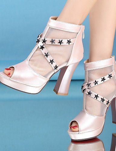 ShangYi Women's Shoes Heel Heels / Peep Toe / Platform Sandals / Heels Outdoor / Dress / Casual Black / Blue / Pink / White/517 Pink ew9Mql