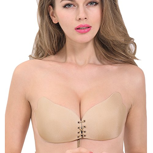 Women's Backless Strapless Adhesive Invisible Push up Bras (Beige) - 6