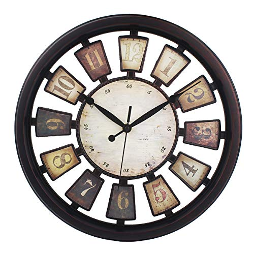 Vintage Wall Clock Non-Ticking Hollow Nordic Style Clocks Battery Operated 14 Inch Easy To Read ,Black Rust