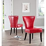 Metro Shop Safavieh Matty Red Leather Nailhead Dining Chairs (Set of 2)
