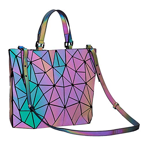 (Harlermoon Geometric Luminous Holographic Purses and Handbags Flash Reflactive Tote for Women ... (Handbag small))