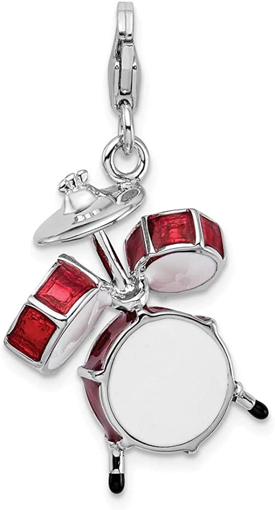 Amore LaVita Sterling Silver 3-D Enameled Drum Set Lobster Clasp Bracelet Charm