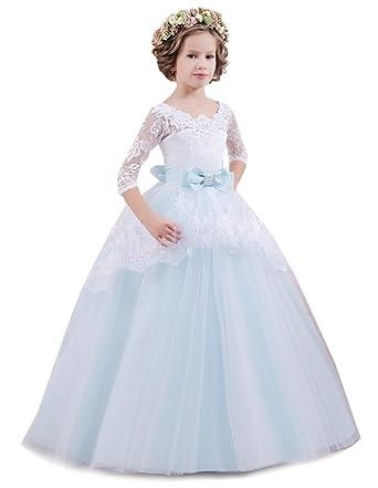 KekeHouse KekeHouse® Blumen Mädchen Kleid für Hochzeit 3/4 Länge ...