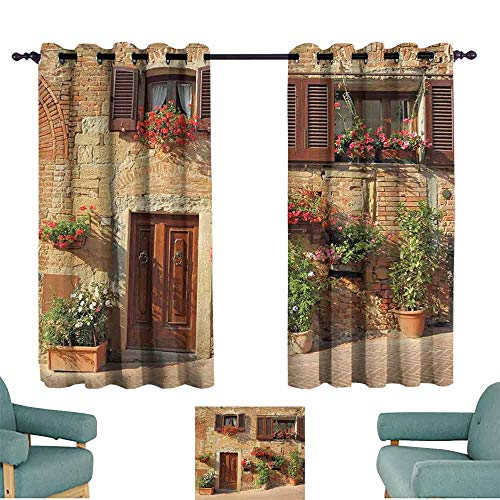 HCCJLCKS Printed Curtain Tuscan Picturesque Lane with Mediterranean Architecture Flowers Italian Town Light Blocking Drapes with Liner W63 xL63 Brown Pale and Brown