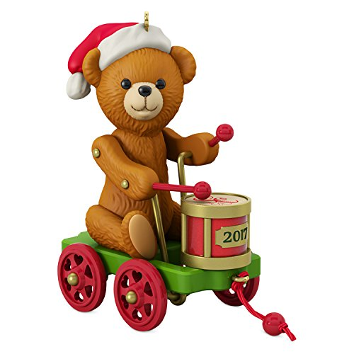 Santa Bear Ornament - Hallmark Keepsake 2017 Santa Certified Toy Bear and Toy Drum Pull Toy Christmas Ornament