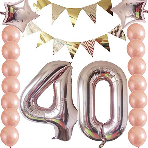 40th Birthday Decorations Party Supplies Kit Rose GoldFunny Happy BannerRose Gold 40 BalloonsLatex Balloons Triangle Garland For Women