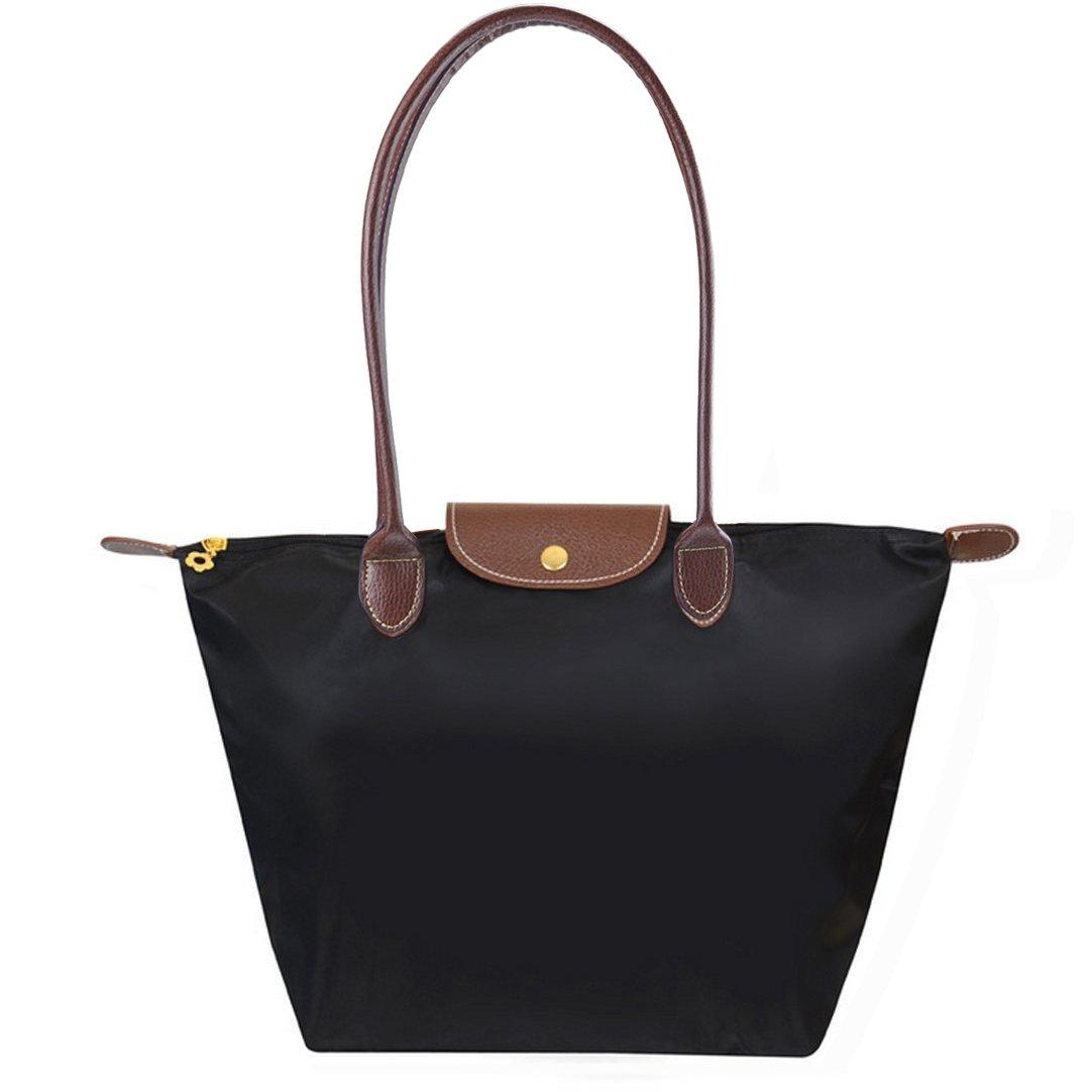 BEKILOLE Women's Stylish Waterproof Tote Bag Nylon Travel Shoulder Beach Bags-Black Color - Medium Size