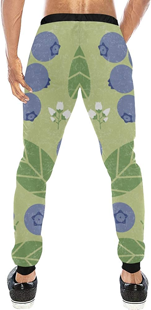 Non brand Unisex 3D Printed Graphric Sport Jogging PantsBlueberries Berries Leaves FlowersCasual Sweatpants