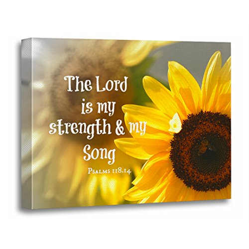 TORASS Canvas Wall Art Print Verses the Lord Is My Strength and Bible Verse Faith Artwork for Home Decor 12'' x 16'' by TORASS