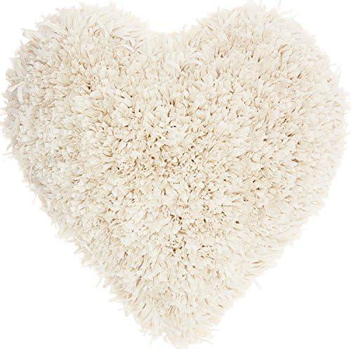 Nourison Mina Victory TL001 Frame Heart Shag Throw Pillow, 18 x 18 , Cream