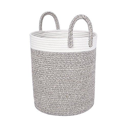 Natural Nursery Baskets - West Dwelling Woven Cotton Rope Storage Basket - Medium-sized 13