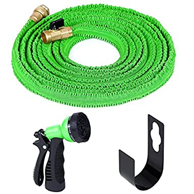 Songmics 50 Feet Expandable Retractable Garden Hose Set Watering Hose Car Wash 8 Setting Sprayer Anti-Rust Hose Holder Included Lightweight Never Kink UGGH50L