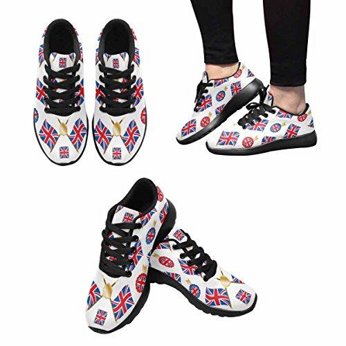 Interestprint Mujeres Footing Running Sneaker Ligero Go Easy Walking Comodidad Deportes Zapatos Deportivos Union Jack Banderas Y Emblemas, Con Clipping Path Multi 1