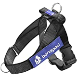 Bondpaw Dog Harness, Black Nylon Dog Chest Harness Comfort Vest Harness with Handle 2 D Ring