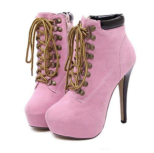 Western Style Fashion Classic Thin Cross Straps Slim High Heel Martin Boots Pink