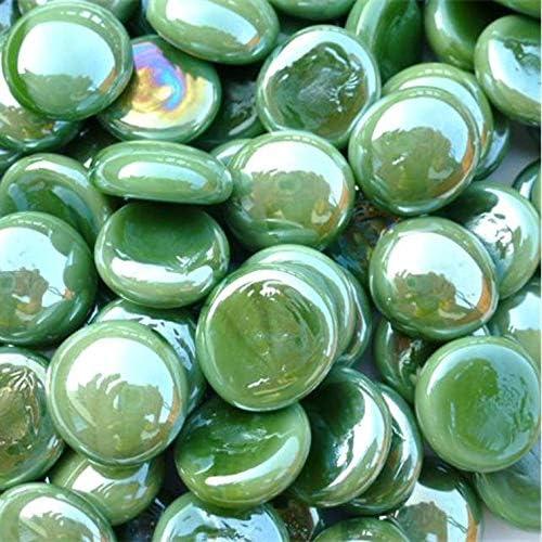 12 OZ WeJe Glass Gems Standard 17-21mm Round Clear Flat Back Marbles for Home Decor Art Craft Vase Filler Aquarium Gravel , Aqua Mix 0.75 LB