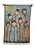Dried Poppies Hand Painted Tapestry Wall Art Hanging, Poppy Pods Fabric Painting