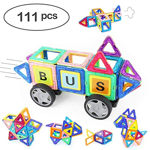 Angelabasics 111 Piece Magnetic Blocks, Magnetic Building Set, Magnetic Tiles, Educational Toys for Baby/Kids with Storage Bag