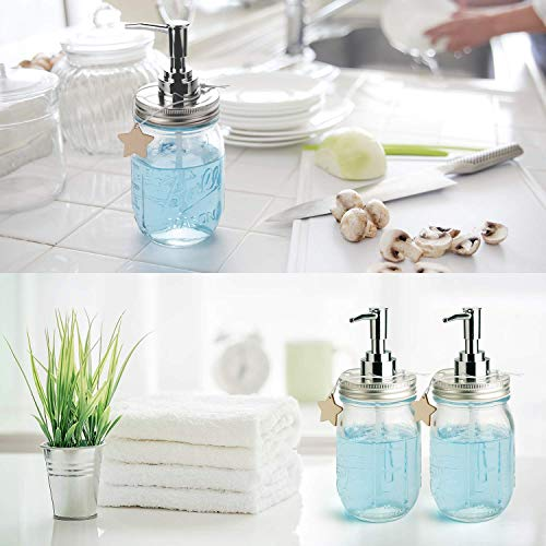 muscccm  (2 Pack Soap Dispenser Set, Mason Jar Pump Lid Soap Dispensers for Homemade Lotions, Shampoos and Massage Oils