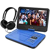 WONNIE 10.5 Inch Portable DVD Player for Kids with Swivel Screen, USB / SD Slot Built in 4 Hours Rechargeable Battery (BLUE)