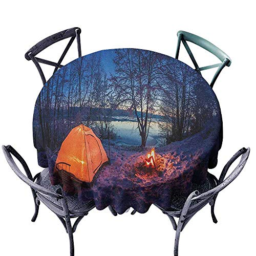 G Idle Sky Forest Washable Table Cloth Dark Night Camping Tent Photo in The Winter on The Snow Covered Lands by The Lake Indoor Outdoor Camping Picnic D59 Blue Orange