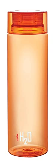 Cello H2O Plastic Unbreakable Bottle, 1 Litre, Orange