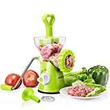 Meat Grinder,Stainless Steel Plates,Powerful Suction Base,Hand Crank for Meat,Veggies,Nuts