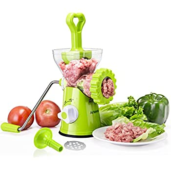 Meat Grinder,Stainless Steel Plates,Powerful Suction Base,Hand Crank for All Meat,Dried Cooked Food