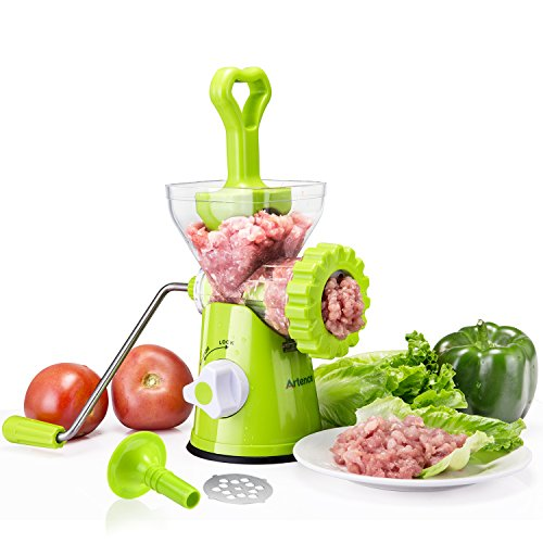 (Artence Meat Grinder,Stainless Steel Plate,Powerful Suction Base,Fast and Effortless for All Meats,Fats,Nuts,Cookies,Cooked Food,perfect for making burgers and Sausage)