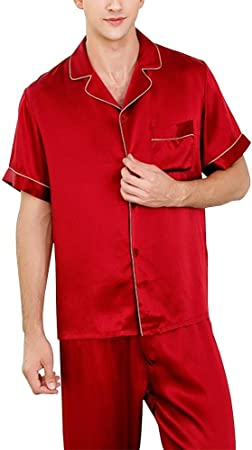 AXIANQIPJS Pantalones 100% Seda Pijamas Set Camisa Roja De Manga Corta De Los Hombres Ropa De Dormir Pantalones 2 Series De Tela Traje Casual Home Service (Color : Red, Size : XXL): Amazon.es: Hogar