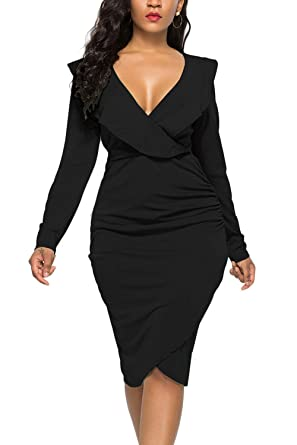 42a173a0e5a WIWIQS Women s Sexy V Neck Bodycon Long Sleeve Ruffle Dress Front Slit  Bandage Midi Club Dresses