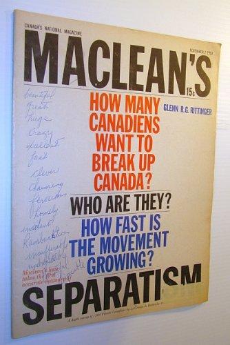 Maclean's Magazine, 2 November 1963 - Canadian Separatism