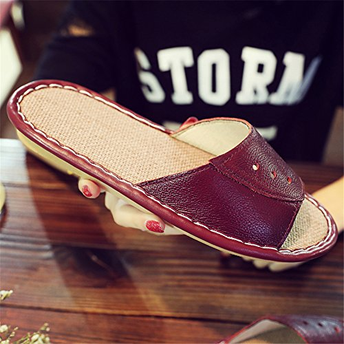Men Anti Autumn Vin W Floor Slippers Cowhide TELLW Spring Rouge Women Smelly Corium Summer Wooden for Leather YfqpRU7w