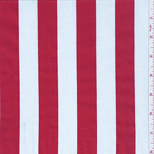 "60"" Red/White One Inch Stripe Print Fabric-15 Yards Wholesale By the Bolt"