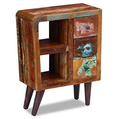 """Festnight Reclaimed Wood Nightstand with 3 Storage Drawers and Shelves End Side Table Bedside Cabinet for Living Room Bedroom Home Furniture 23.6"""" x 11.8"""" x 31.5"""""""