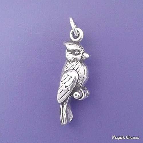 925 Sterling Silver 3-D Cardinal Blue Jay Bird Charm Pendant Jewelry Making Supply, Pendant, Charms, Bracelet, DIY Crafting by Wholesale Charms by Wholesale Charms