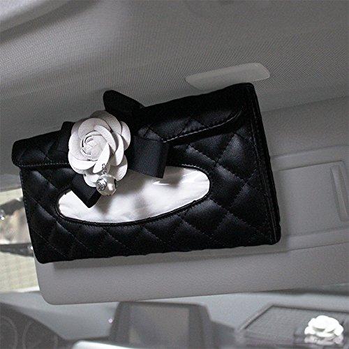Mustangs Tissue Box - YGMONER Camellia Car Tissue Box Holder PU Leather Car Sun Visor Clip