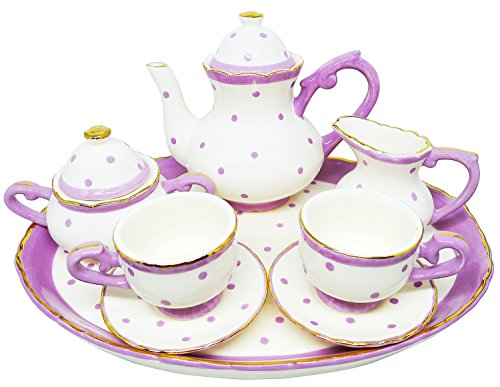 BDJ Hand Painted Ceramic Miniature Tea Party Set for Two - 10 Pieces (Size L) (Style 2)