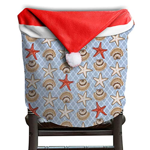 - EDYE Seashell Starfish Nautical Blue Christmas Xmas Themed Dinning Seat Chair Cap Hat Covers Ornaments for Backers Slipcovers Wraps Coverings Decorations Protector Set Party
