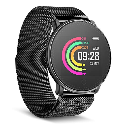 Smart Watch, UMIDIGI Uwatch Bluetooth Smartwatch for Women Men Compatible Android iOS, Fitness Tracker with Heart Rate Monitor & 7-30 Days Battery Life (2 Bands)