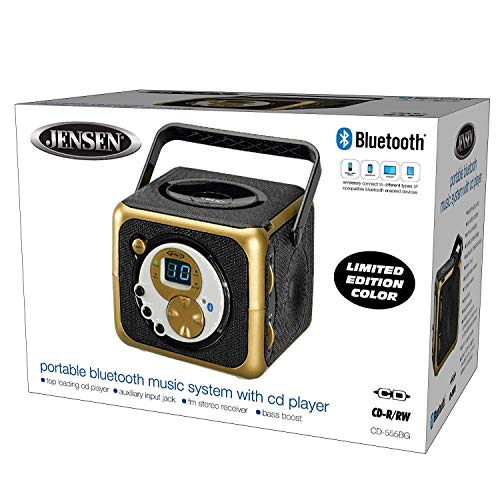 Jensen CD-555 Black/Gold Limited Edition Color Portable Bluetooth Music System with CD Player & FM Radio with Aux-in & Headphone Jack Line-In