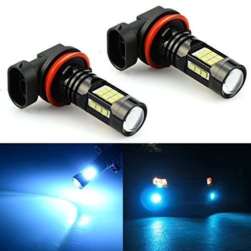JDM ASTAR 2400 Lumens Extremely Bright PX Chips H11 H8 H16 LED Fog Light Bulbs for DRL or Fog Lights, Ice Blue ()