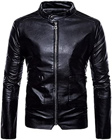 [Sponsored] DANNI Men's Leather Clothing 2018 Spring New Men's Casual Coats Black Collar Fashion Leather Jacket
