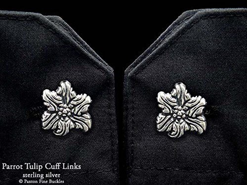 Parrot Tulip Flower Cuff Links in Solid Sterling Silver Hand Carved & Cast by Paxton by Paxton Jewelry