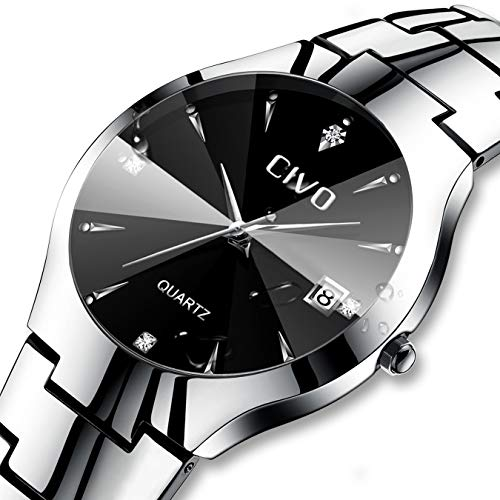 Mens Watches Men Stainless Steel Waterproof Date Calendar Analogue Quartz Watch Men's Business Casual Luxury Dress Wrist Watches with Black Dial -