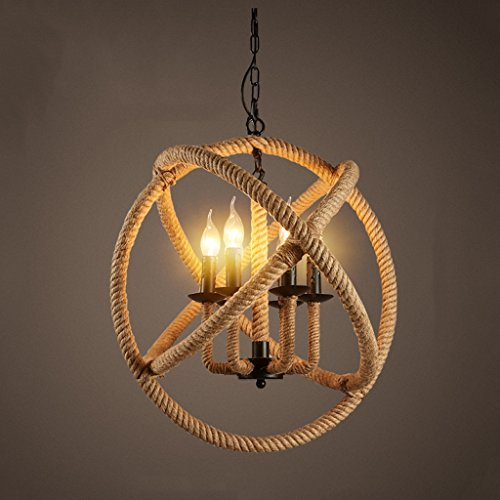 Modeen 6 Light Rustic Rope Globe adjustable Ceiling Lamp Chandelier Pendant Light Country Style Barn warehouse Villa garage Lighting fixtures E12/E14