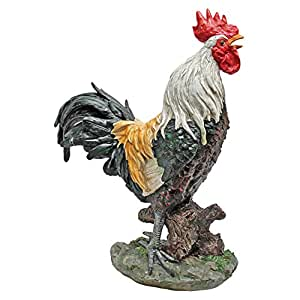 Design Toscano Cock-A-Doodle-Do Rooster Statue, Multicolored