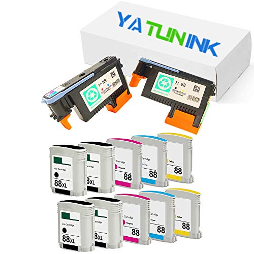 red Ink Cartridge Replacement for HP 88XL Ink Cartridge and 88 Printhead C9381A C9382A for OfficeJet L7750 L7780 L7500 L7650 L7680 Printer(10 Pack Ink Cartridge +2 Pack Printheads) ()